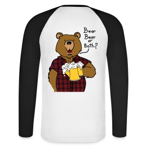T-shirt Baseball Bear and Beer impression dos - T-shirt baseball manches longues Homme