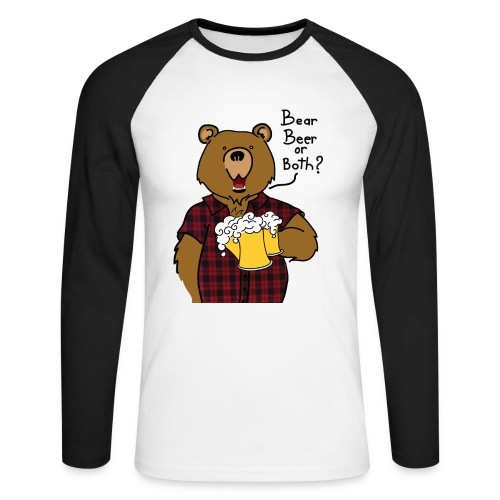 T-shirt Baseball Bear and Beer impression davant - T-shirt baseball manches longues Homme