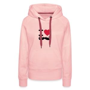 Hippe meidensweater met capuchon en I love mustache logo - Vrouwen Premium hoodie