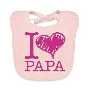 bavoir rose : j'aime papa - Bavoir bio Bébé