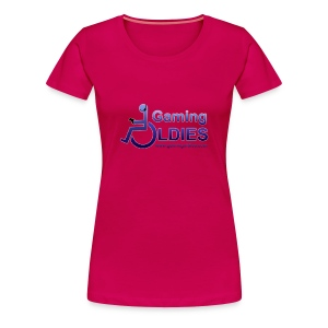 Women's Premium T-Shirt - Ladies t-shirt with logo on front, GOs tag on right and text on back