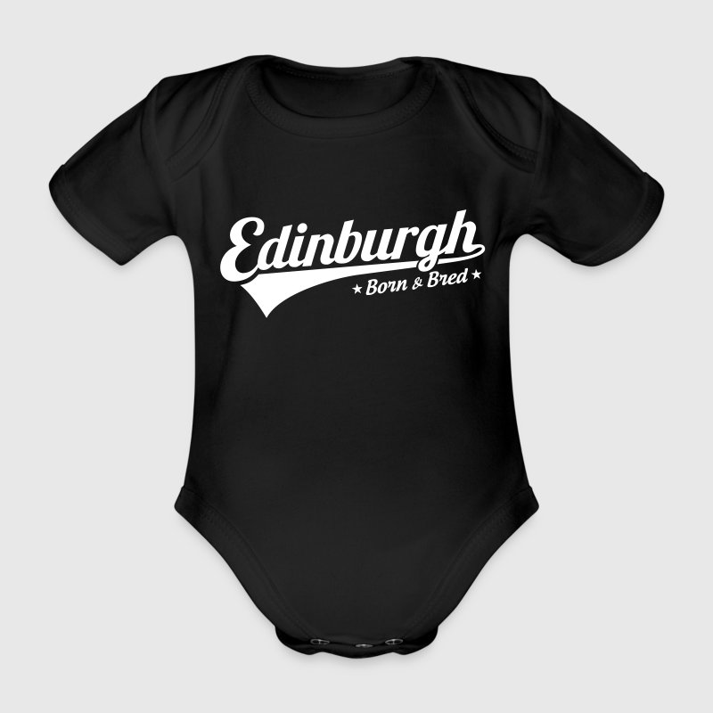 Edinburgh Born & Bred Baby Grow Black - Organic Short-sleeved Baby Bodysuit