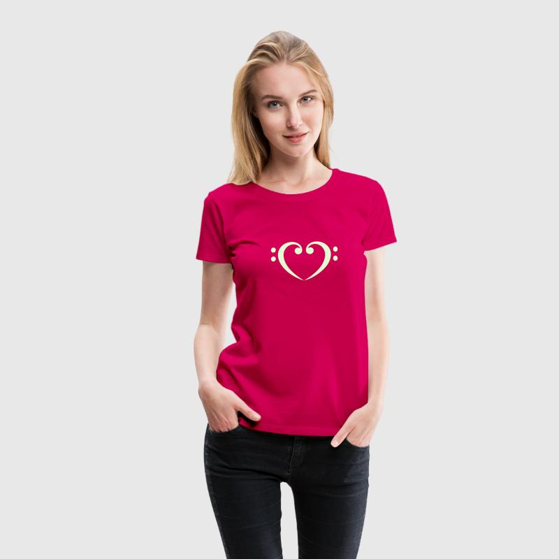 Bass Clef Heart - Glow in the Dark! Magliette - Maglietta Premium da donna