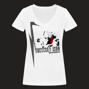 WOMENS V-NECK LOGO COLOUR - Women's Organic V-Neck T-Shirt by Stanley & Stella