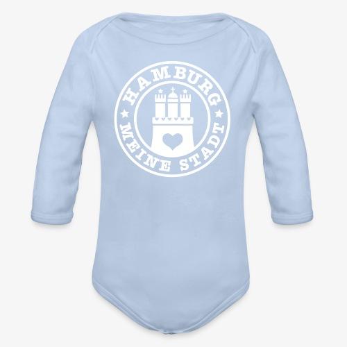 HAMBURG MEINE STADT Wappen Herz Baby Body rot + alle Farben - Baby Bio-Langarm-Body