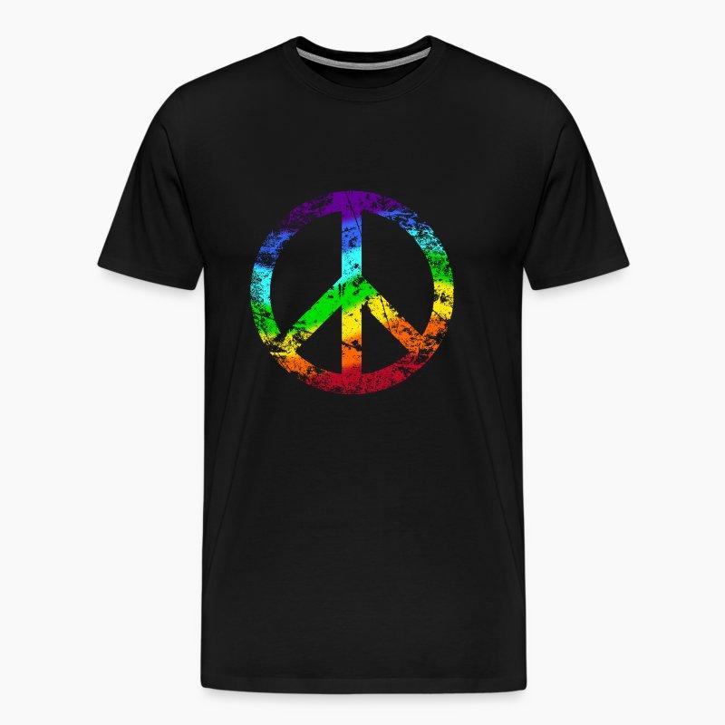 peacezeichen regenbogen rainbow used look t shirt. Black Bedroom Furniture Sets. Home Design Ideas