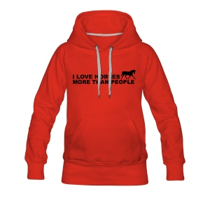 I Love Horses More Than People Felpe - Felpa con cappuccio premium da donna