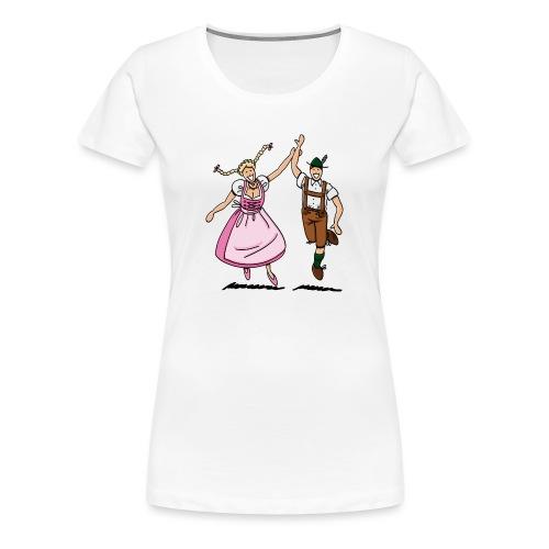 Damen T-Shirt Oktoberfest Tanzpaar Lederhosen Dirndl - Frauen Premium T-Shirt
