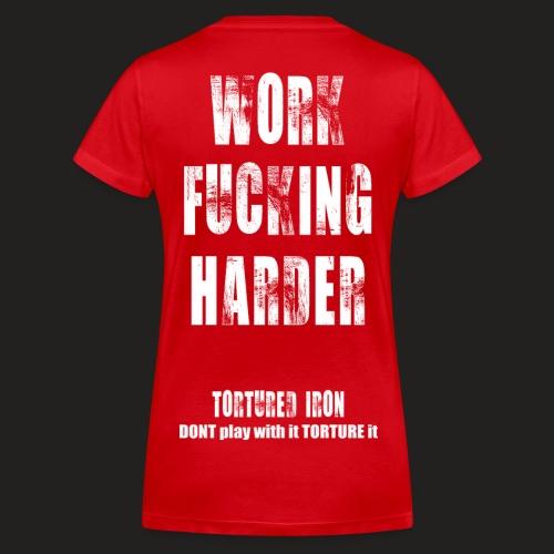 WOMANS WORK F-ING HARDER - Women's Organic V-Neck T-Shirt by Stanley & Stella