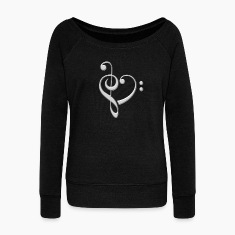 Bass clef heart, treble clef, music lover, notes Hoodies & Sweatshirts