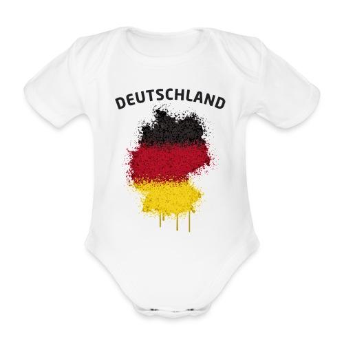 Baby Kurzarm Body Fußball Fan Deutschland Graffiti - Baby Bio-Kurzarm-Body