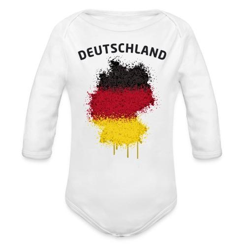Baby Langarm Body Fußball Fan Deutschland Graffiti - Baby Bio-Langarm-Body