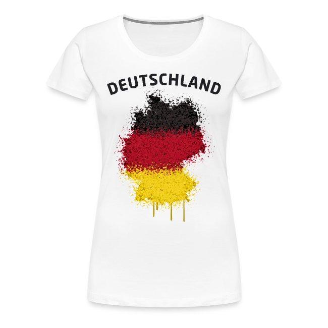 Damen Fußball Fan T-Shirt Deutschland Graffiti