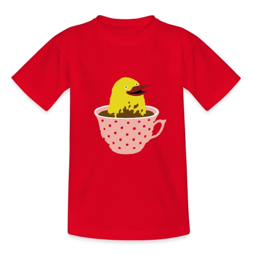 Vogel in Tasse - Kinder T-Shirt