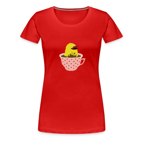 Vogel in Tasse - Frauen Premium T-Shirt