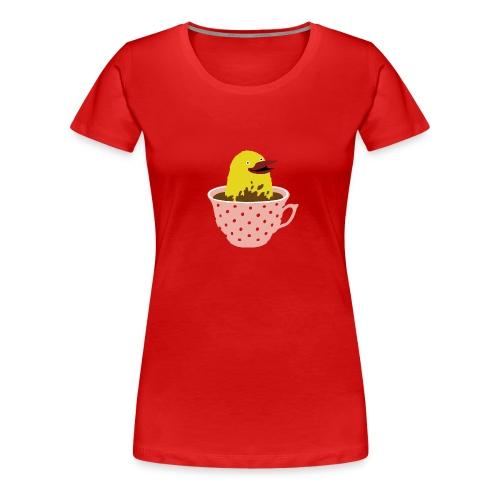 Vogel in Tasse - Frauen Premium T-Shirt