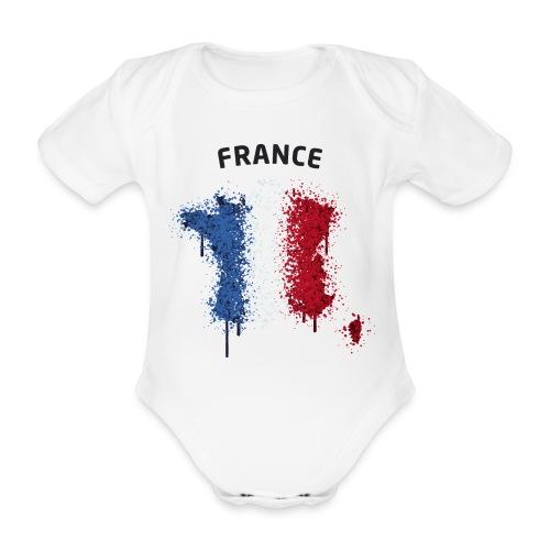 Baby Kurzarm Body Fußball Fan France Graffiti - Baby Bio-Kurzarm-Body