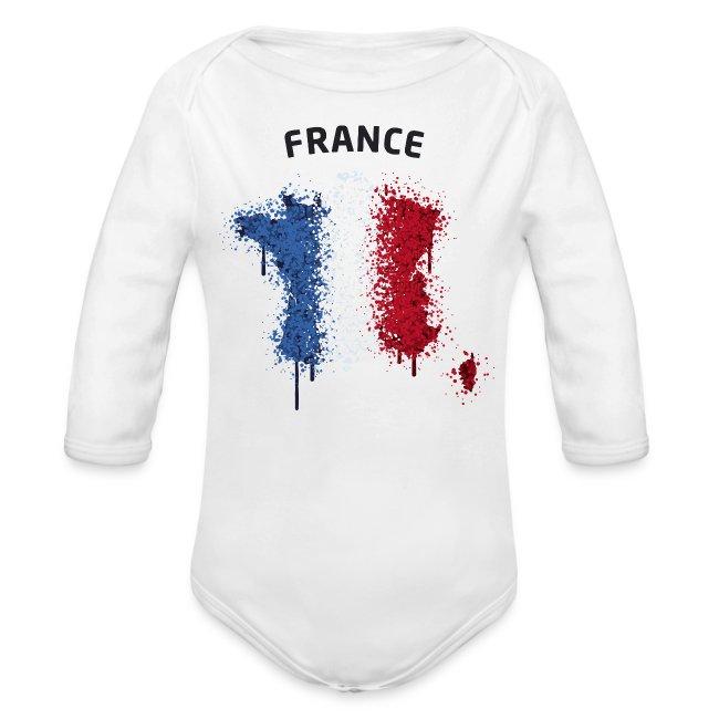 Baby Langarm Body Fußball Fan France Graffiti