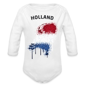 Baby Langarm Body Fußball Fan Holland Graffiti - Baby Bio-Langarm-Body