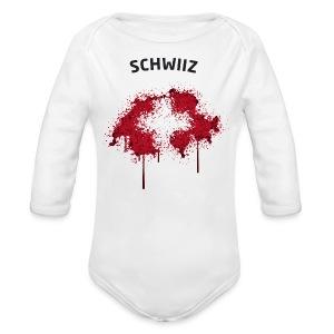 Baby Langarm Body Fußball Fan Schwiiz Graffiti - Baby Bio-Langarm-Body