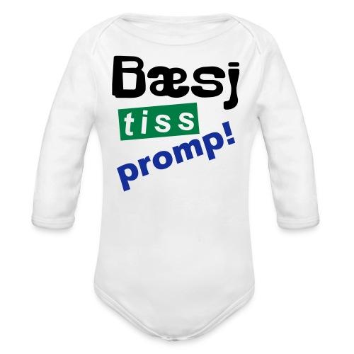 Bæsj Tiss Promp! - Økologisk langermet baby-body
