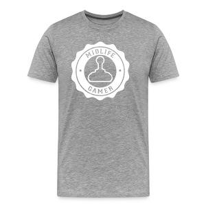 Emblem: Midlife Gamer - Mono V2 White Lg - Men's Premium T-Shirt