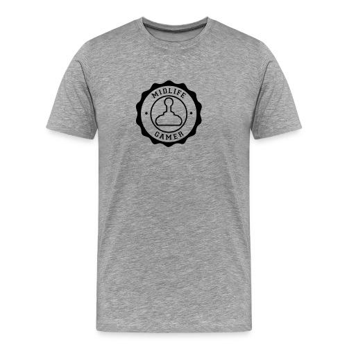 Emblem: Midlife Gamer - Mono V1 Black - Men's Premium T-Shirt
