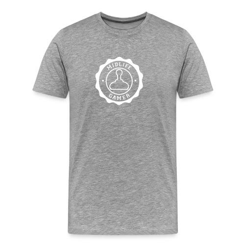 Emblem: Midlife Gamer - Mono V1 White - Men's Premium T-Shirt