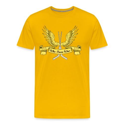 Who Saves Wins Hockey Goalie Men's Premium T-Shirt - Men's Premium T-Shirt