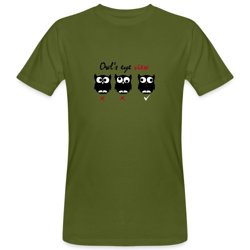 Eulenblick 3farbig (oliv) Flockdruck -------------------------------------------------------------- - Männer Bio-T-Shirt