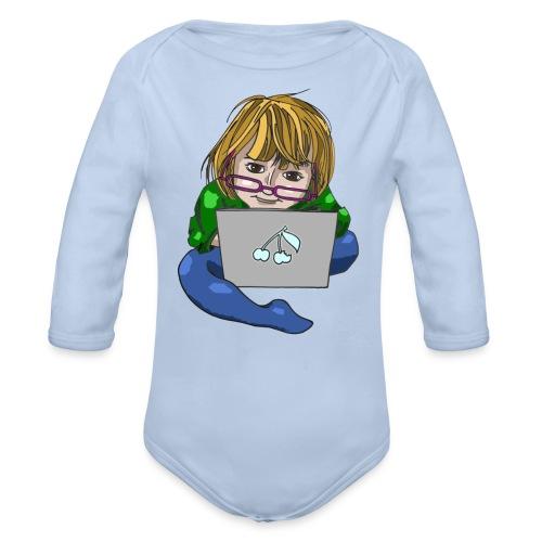 Littlest Computer Geek Girl Creeper - Organic Longsleeve Baby Bodysuit