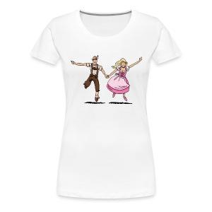 Damen T-Shirt Oktoberfest Glückliches Paar - Frauen Premium T-Shirt