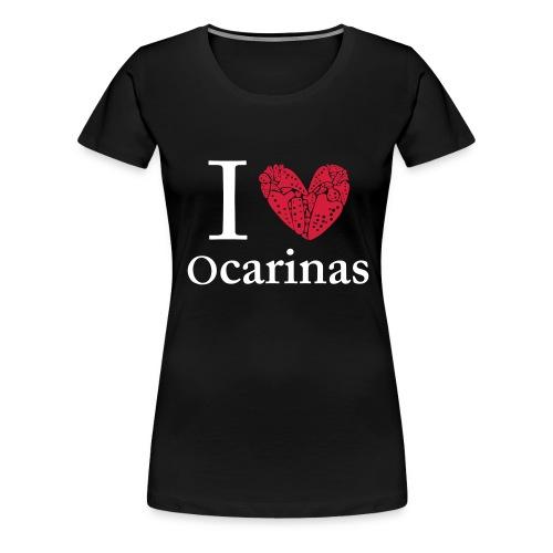 I Love Ocarinas White Text Female - Women's Premium T-Shirt