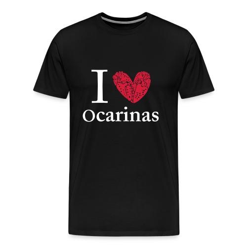I Love Ocarinas White Text Male - Men's Premium T-Shirt