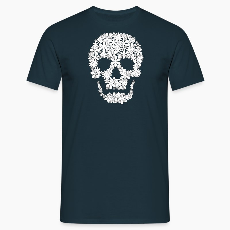 totenkopf blumen weiss t shirt spreadshirt. Black Bedroom Furniture Sets. Home Design Ideas