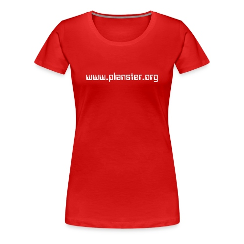 WOMEN / RED, WHITE TEXT - Women's Premium T-Shirt