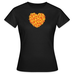 Herz Blumen orange T-shirt Frauen - Frauen T-Shirt