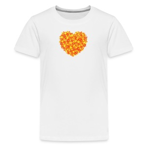 Herz Blumen orange kinder T-Shirt - Teenager Premium T-Shirt