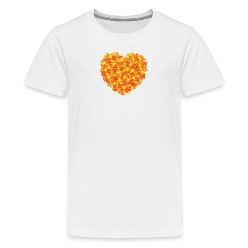 Herz Blumen orange kinder T-Shirt - Teenager Premium T-Shirt