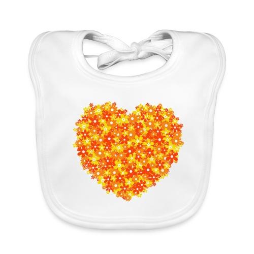 Herz Blumen orange baby Lätzchen - Baby Bio-Lätzchen