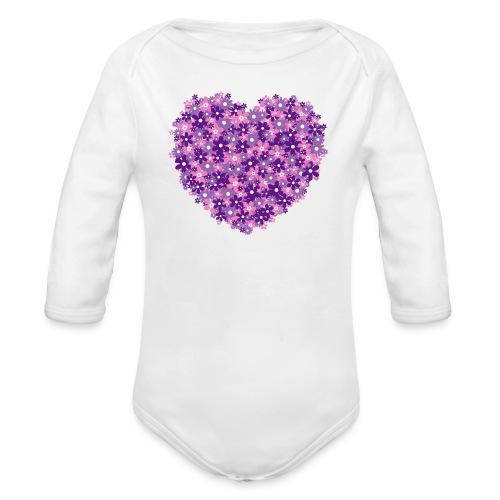 Herz Blumen violett baby body - Baby Bio-Langarm-Body