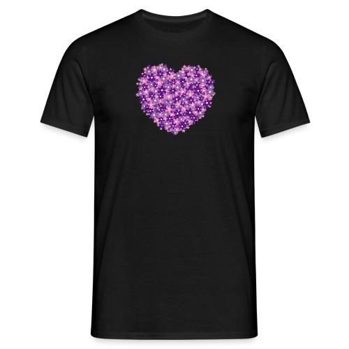 Herz Blumen violett Männer t-shirt - Männer T-Shirt