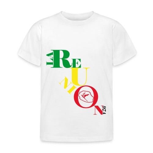 T-shirt Enfant écriture la Réunion paille en queue - 974 - T-shirt Enfant