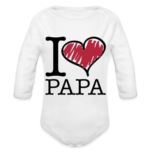 i love papa - Body orgánico de manga larga para bebé