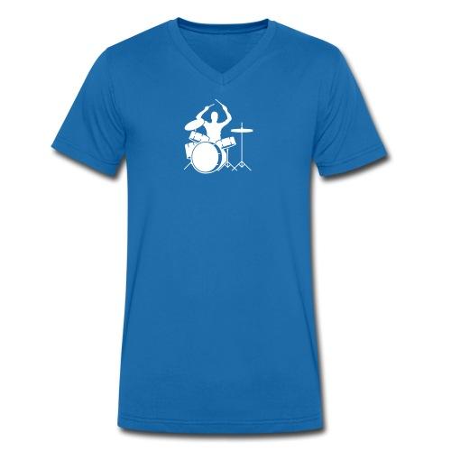 He.T-Shirt Drummer V-Kragen - Männer Bio-T-Shirt mit V-Ausschnitt von Stanley & Stella