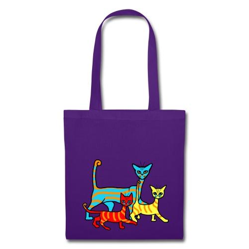 Sac shopping - famille chats rayés - Tote Bag