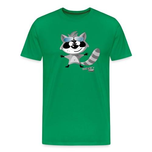 Männer Premium T-Shirt - Mit Motiv Beau, dem charmanten Waschbär aus der App RACCooNY's GANG - With design Beau, the charming raccoon from the app RACCooNY's GANG