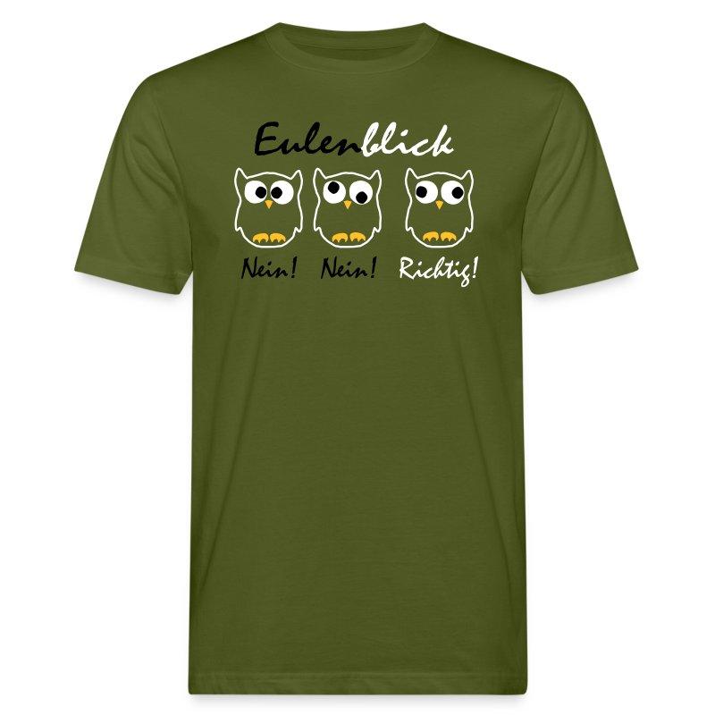 Eulenblick Flexdruck - Männer Bio-T-Shirt