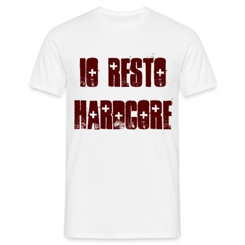 IO RESTO HARDCORE T-Shirt Uomo scritta granata - Maglietta da uomo