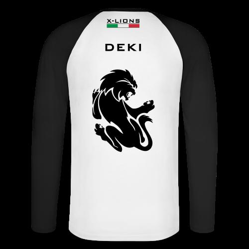 Shirt Cotone, Deki white - Maglia da baseball a manica lunga da uomo